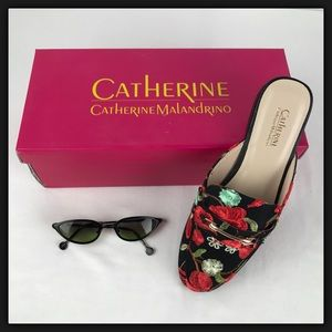 NIB Catherine Malandrino Embroidered Mules 7 & 7.5